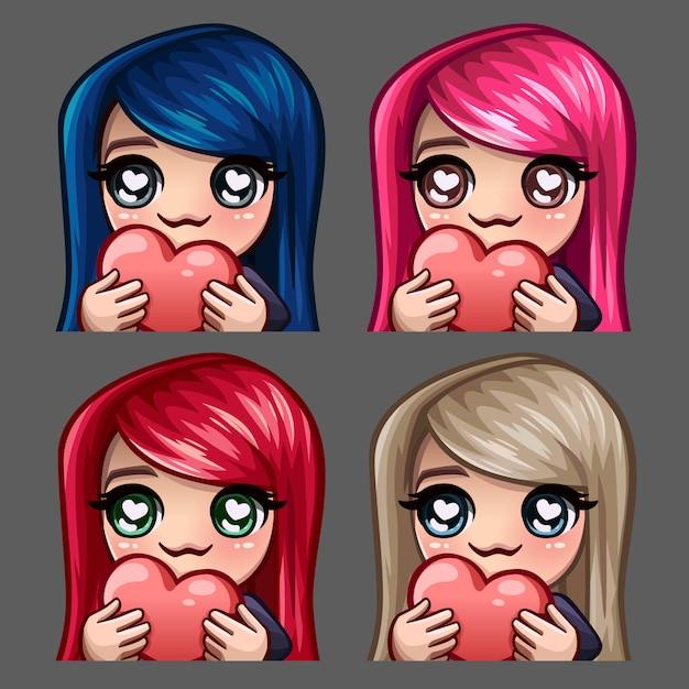 Emotie pictogrammen gelukkig vrouw met hart en lange haren voor sociale netwerken en stickers Premium Vector