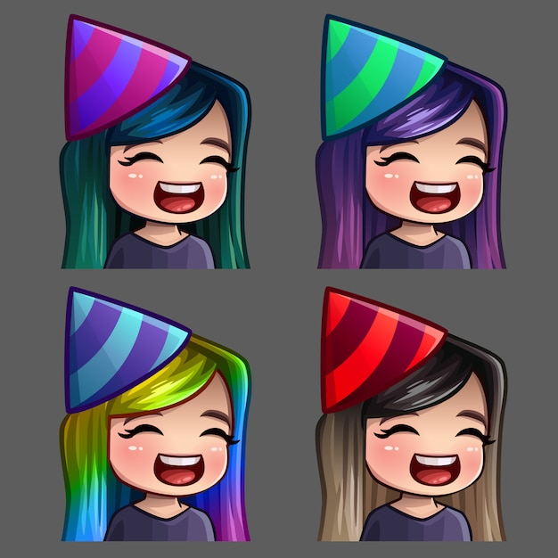 Emotie pictogrammen happy party vrouw met lange haren voor sociale netwerken en stickers Premium Vector