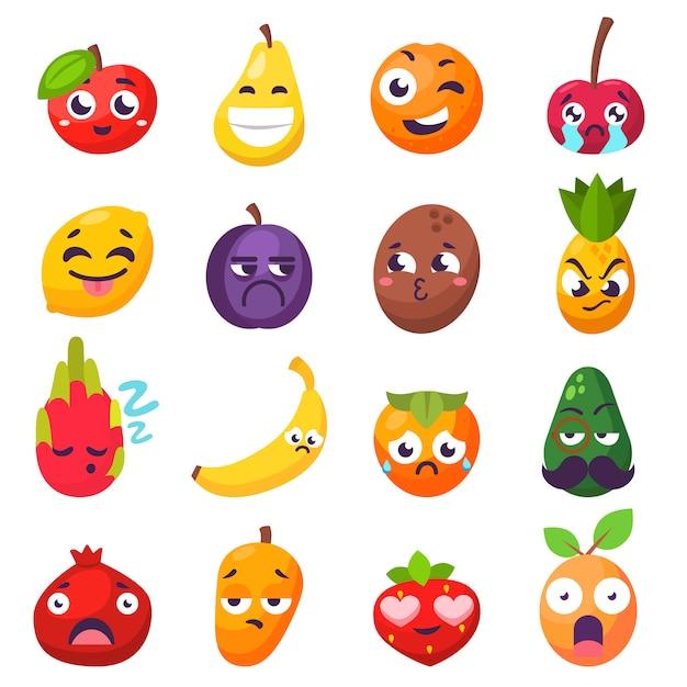 Emoties fruitkarakters geïsoleerde vector Premium Vector