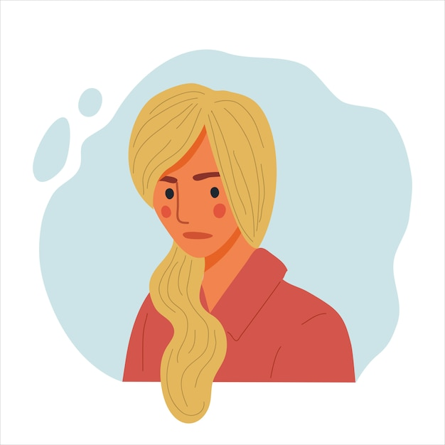 Emotioneel vrouwenportret, hand getrokken vlakke ontwerpconceptillustratie van droevig meisje, gelukkig vrouwelijk gezicht en en schoudersavatars. Premium Vector