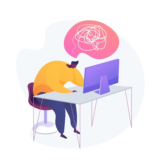 Emotionele burn-out. gebrek aan inspiratie. vermoeidheid, overwerkt, vermoeidheid. uitgeput kantoor werknemer stripfiguur zittend op de werkplek met computer. Gratis Vector