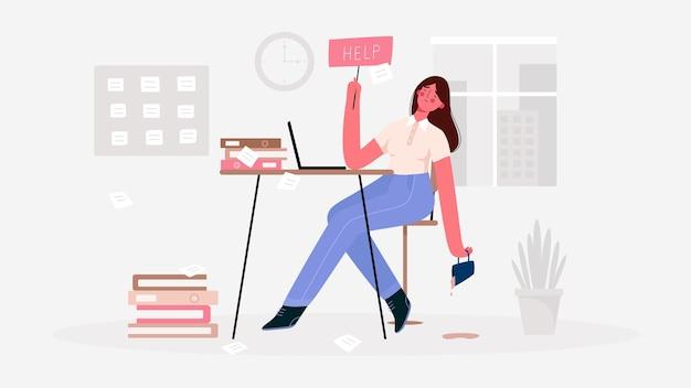 Emotionele burn-out vrouw, moe van de enorme hoeveelheid werk, zittend op haar werkplek met laptop op kantoor en houdt het bordje help vast. deadline, stress, depressie op het werk. Premium Vector