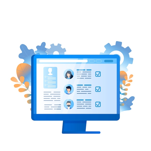 Employee search business management op computer Premium Vector