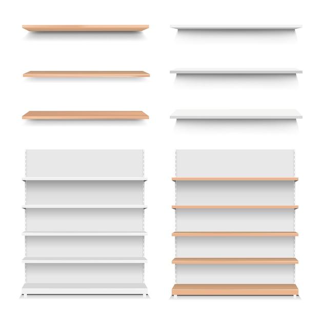Emply houten plank instellen geïsoleerde witte achtergrond Premium Vector