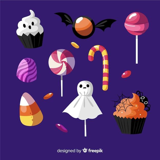 En getrokken halloween zoete collectie Gratis Vector