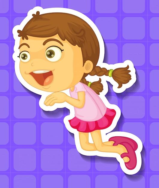 En meisje dat springt glimlacht Gratis Vector