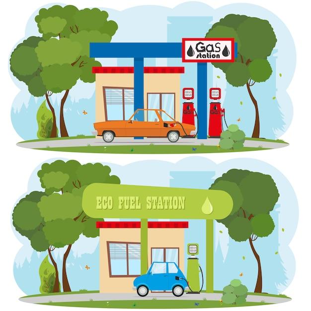 Energie- en tankstation. stedelijk landschap. Premium Vector