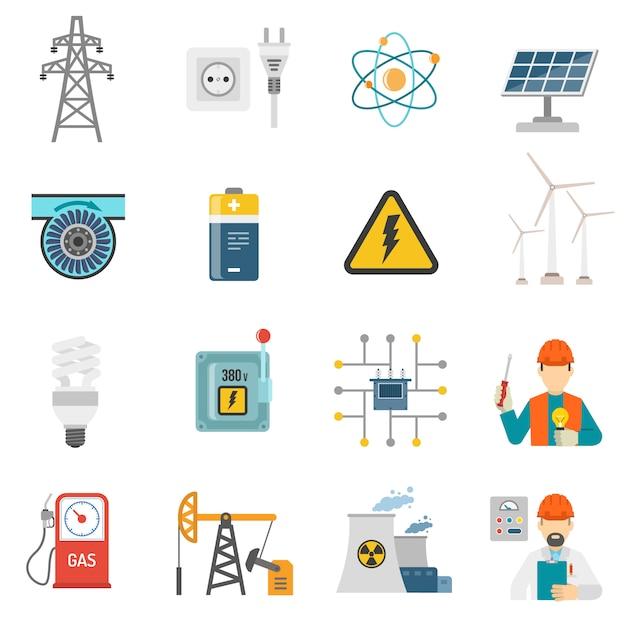 Energie macht vlakke pictogrammen instellen Gratis Vector