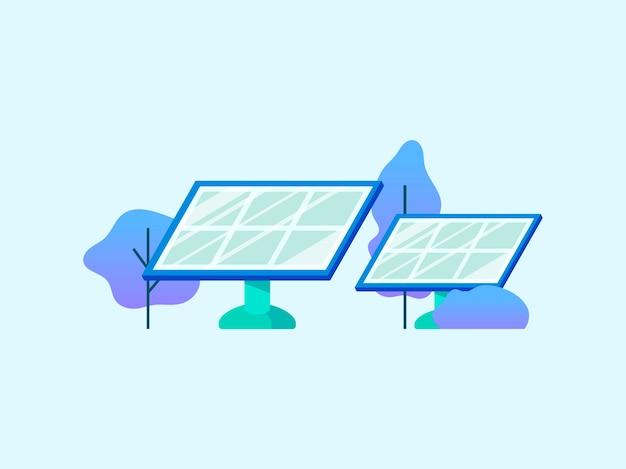 Energiebesparend concept met zonnepanelen Gratis Vector
