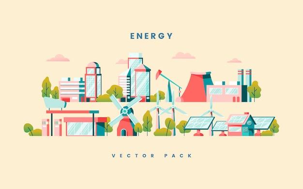 Energiebesparende concept vector in geel Gratis Vector