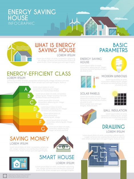 Energiebesparende huis infographics Gratis Vector