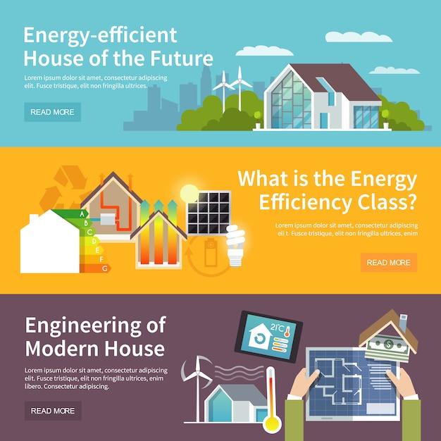 Energiebesparende huisbanner Gratis Vector