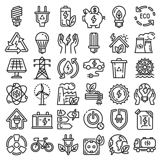 Energiebesparende pictogramserie. overzichtsreeks energie - besparings vectorpictogrammen voor geïsoleerd webontwerp Premium Vector