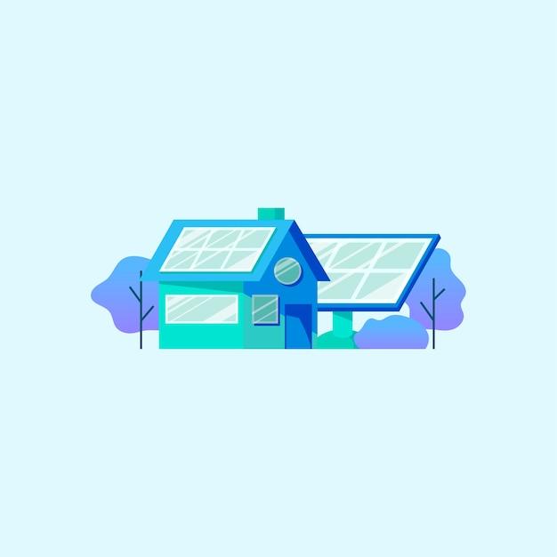 Energiebesparing met zonnepaneel Gratis Vector