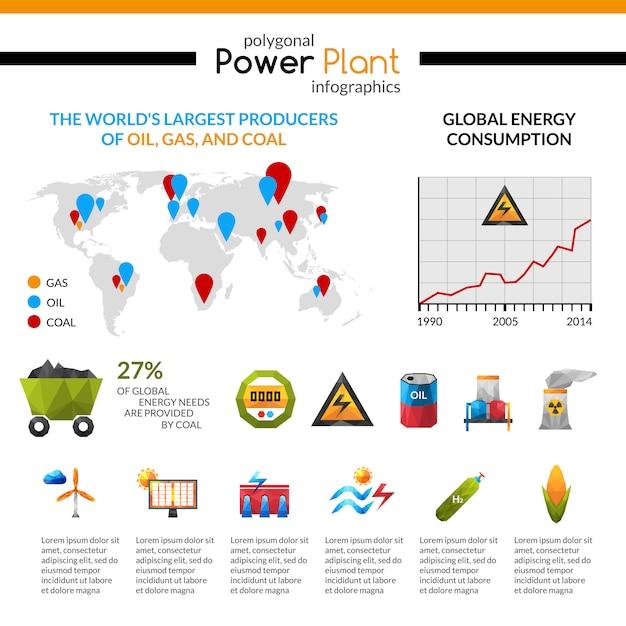 Energiecentrale en minerale extractie infographic Gratis Vector