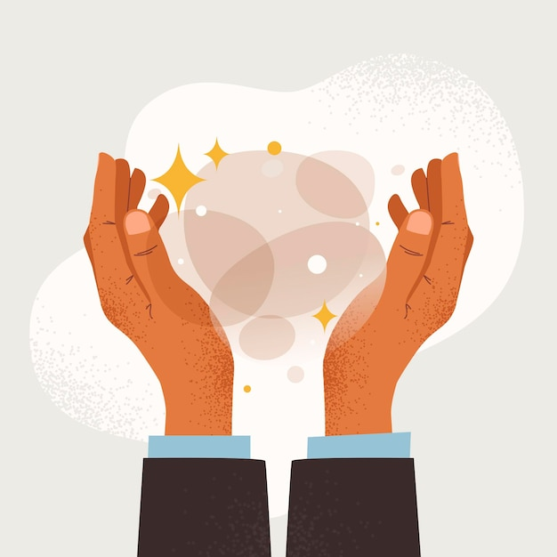 Energiehelende handen Gratis Vector