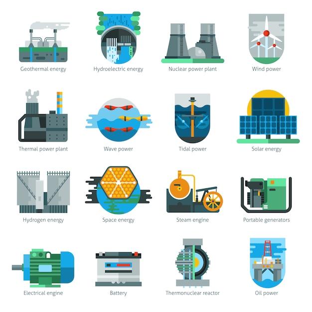 Energieproductie pictogrammen Gratis Vector