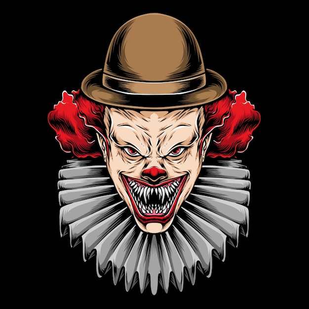 Eng rood haar clown illustratie Premium Vector