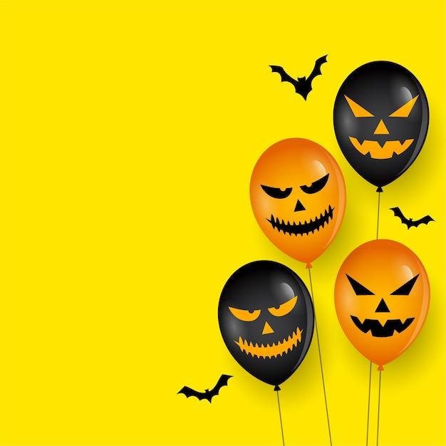 Enge ballon en vleermuizen op happy halloween-kaart Gratis Vector