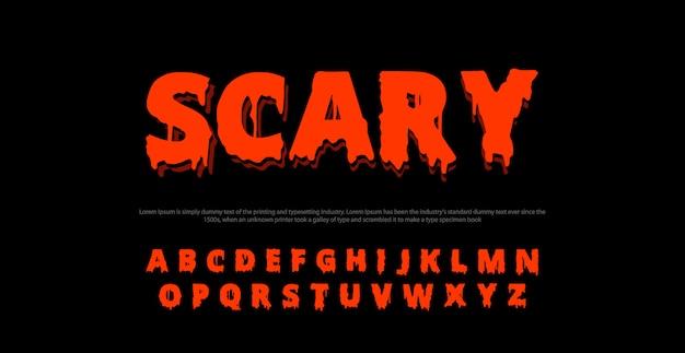 Enge film alfabet lettertype. typografie horror ontwerpen concept Premium Vector