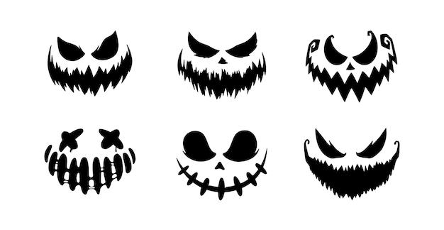 Enge gezichten van halloween-pompoen of spook. penseelstreek glimlach. vector collectie. Premium Vector