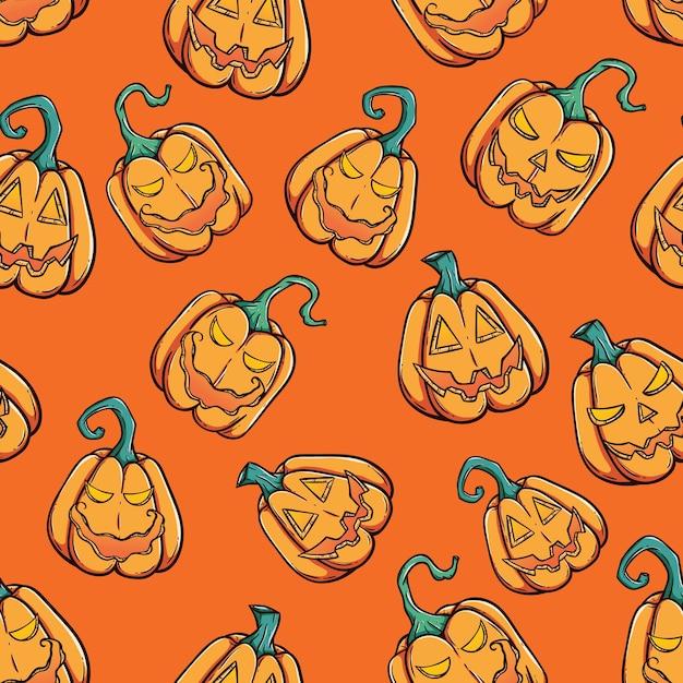 Halloween Gebruiken.Enge Halloween Pompoen In Naadloos Patroon Die Getrokken
