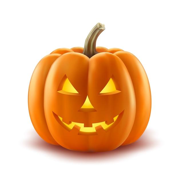 Pompoen Voor Halloween.Enge Pompoen Halloween Lantaarn Realistische Vector Vector