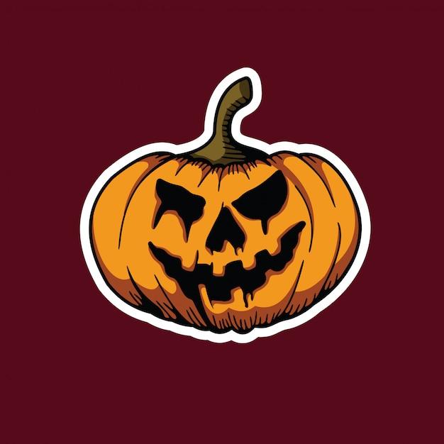 Enge pompoenen halloween sticker Premium Vector