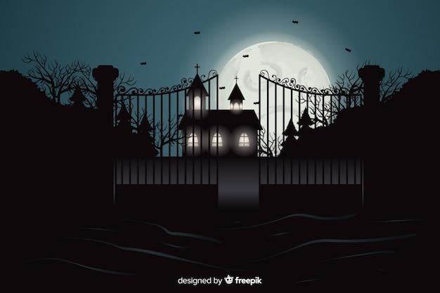 Enge realistische halloween-achtergrond Gratis Vector