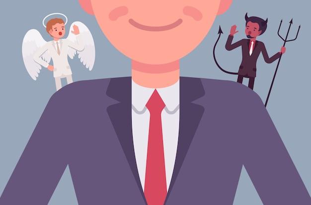 Engel en duivel op de schouders van de man Premium Vector