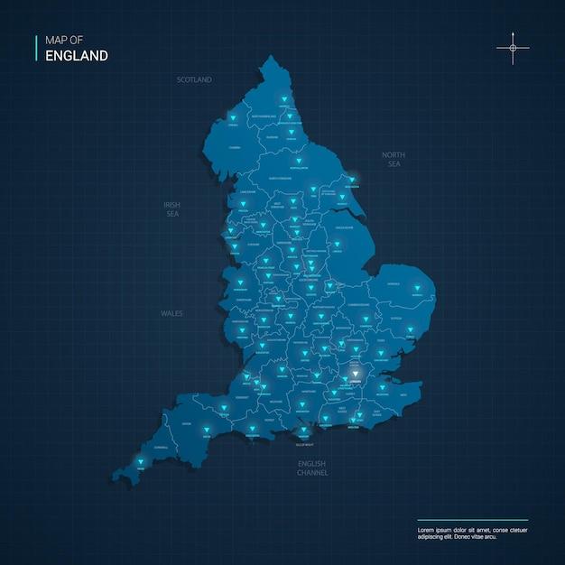 Engeland kaart met blauwe neonlichtpunten Premium Vector