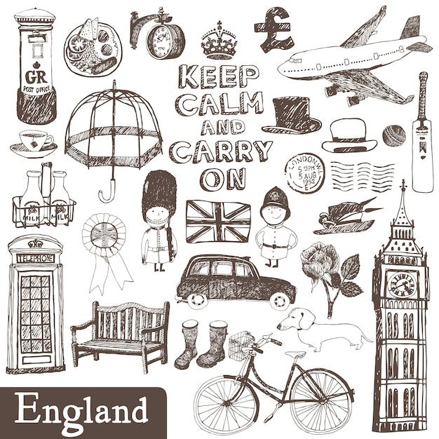 Engeland set Gratis Vector