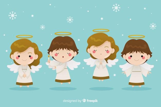 Engelen met vleugels plat ontwerp Gratis Vector