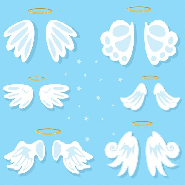 Engelenvleugels ingesteld. cartoon geïsoleerd op blauwe achtergrond. Premium Vector