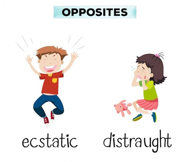 Engels tegenovergesteld woord van extatisch en radeloos Gratis Vector