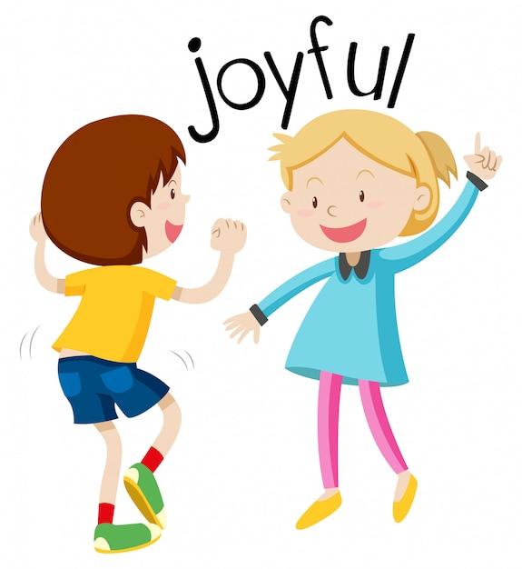 Engels vocabulaire woord vreugdevol Gratis Vector