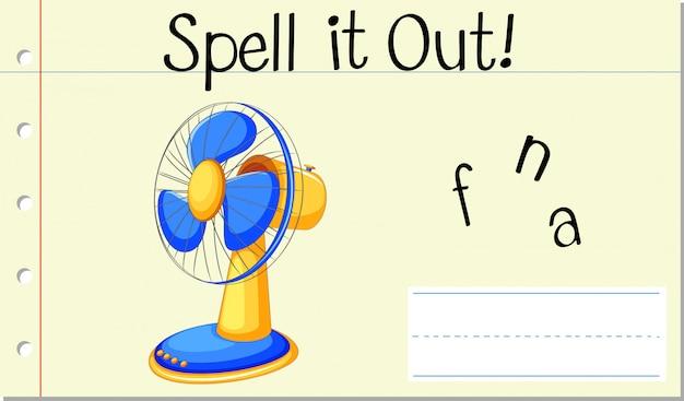 Engels woord fan spellen Gratis Vector