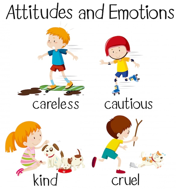Engelse woordattitudes en emoties Premium Vector