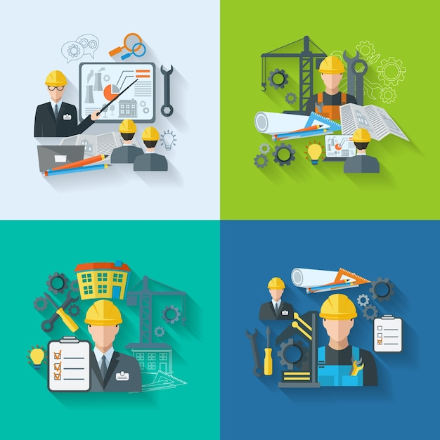 Engineer pictogram platte set Gratis Vector