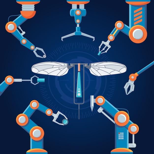 Engineering productie robot set Gratis Vector