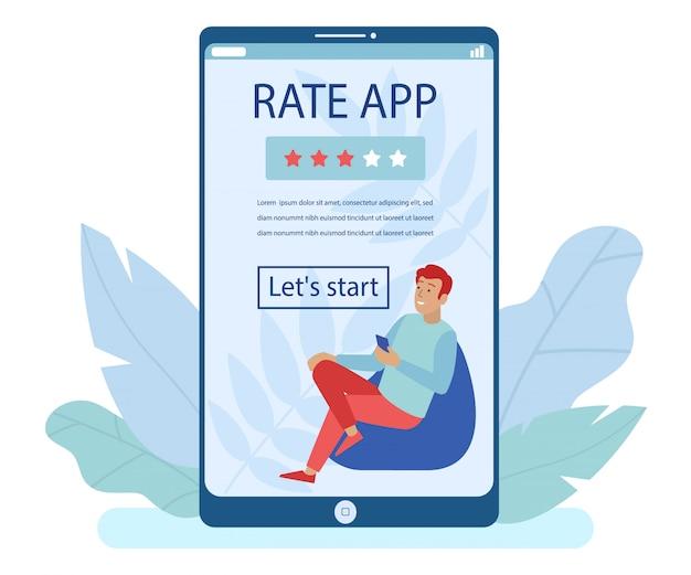 Enorm mobiel scherm met bestemmingspagina voor rate app Premium Vector
