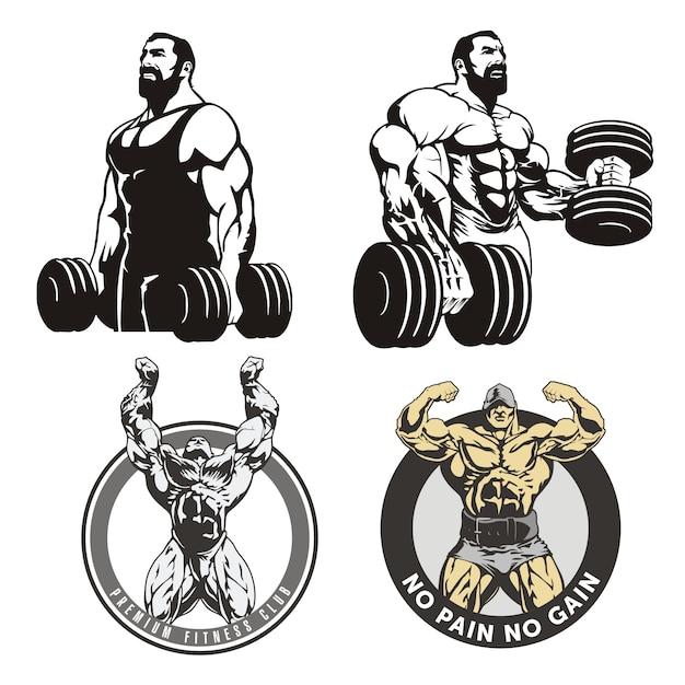 Enorme bodybuilders, set illustraties Premium Vector