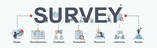 Enquêtepictogram voor bedrijven en marketing, vragenlijst, tevredenheid en onderzoek. Premium Vector