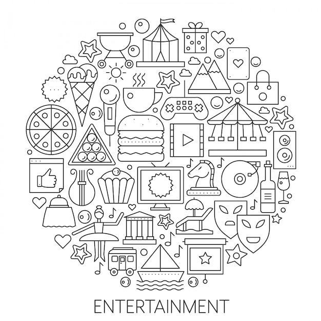 Entertainment infographics lijn embleem Premium Vector