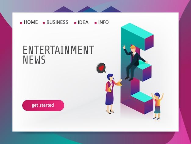 Entertainment nieuws isometrisch Premium Vector