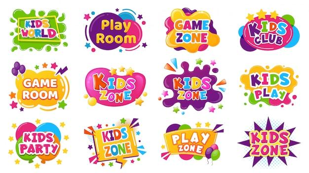 Entertainmentbadges voor kinderen. game room partylabels, onderwijs- en entertainmentclubelementen voor kinderen. baby spelen zone illustratie set. speelruimte, kinder- en kinderzone voor spel Premium Vector