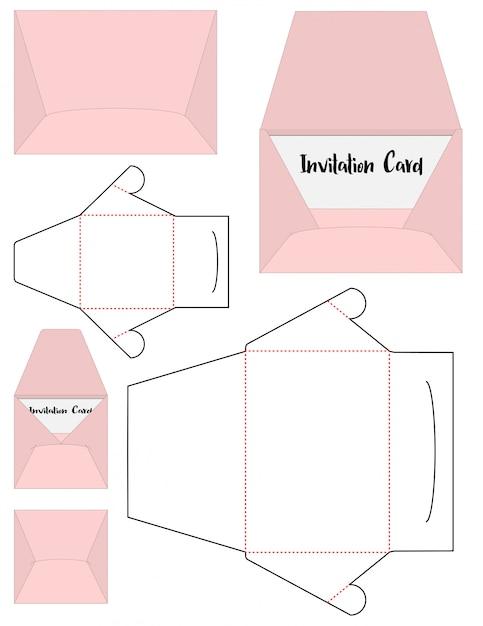 Envelop gestanste mock-up sjabloon Premium Vector