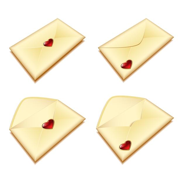 Envelop met een hart Premium Vector