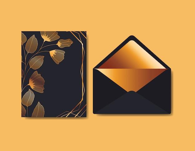 Envelop met uitnodiging en bloemendecoratie Gratis Vector