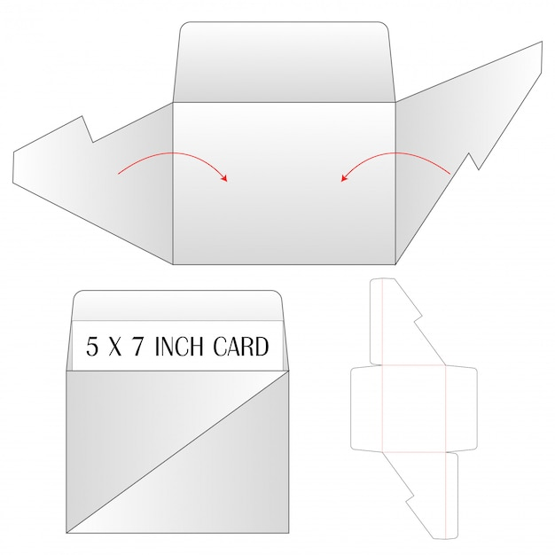 Envelop sterven gesneden mock-up sjabloon vectorillustratie. Premium Vector